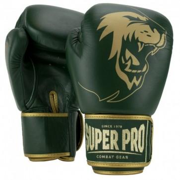 Super Pro Combat Gear Warrior SE Leder Boxhandschuhe green/gold