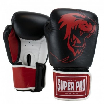 Super Pro Combat Gear Warrior SE Leder Boxhandschuhe black/red/white