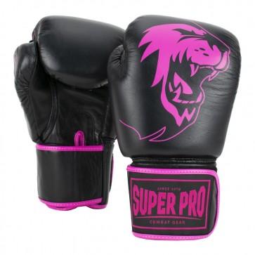 Super Pro Combat Gear Warrior Leder Boxhandschuhe black/pink