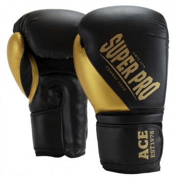 Super Pro Combat Gear ACE (Kick)Boxhandschuhe black/gold