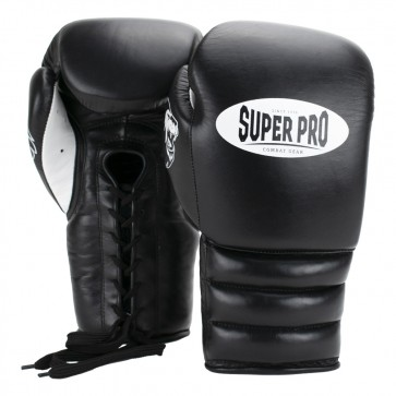 Super Pro Combat Gear Knock Out Boxhandschuhe Schnürung black/white