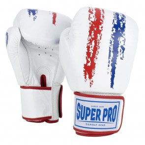 Super Pro Combat Gear Warrior Leder Boxhandschuhe red/white/blue