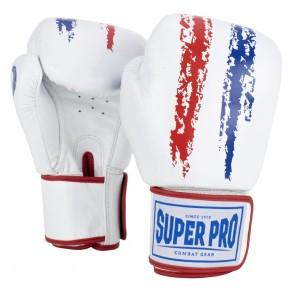 Super Pro Combat Gear Warrior Leder Boxhandschuhe red/white/blue