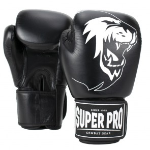 Super Pro Combat Gear Warrior Leder Boxhandschuhe black/white