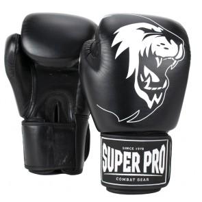 Super Pro Combat Gear Warrior Leder Boxhandschuhe black/white