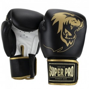 Super Pro Combat Gear Warrior SE Leder Boxhandschuhe black/gold/white