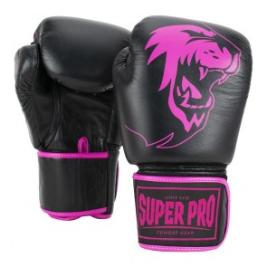 Super Pro Combat Gear Warrior Leder Boxhandschuhe black/pink