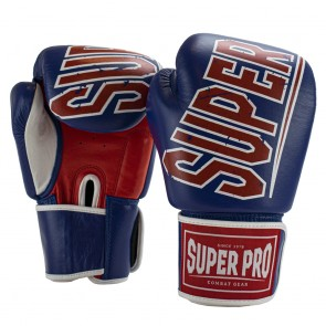 Super Pro Combat Gear Challenger Leder (Thai-)Boxhandschuhe blue/red/white