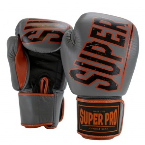 Super Pro Combat Gear Challenger Leder (Thai-)Boxhandschuhe grey/orange/black