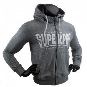 Super Pro Hoody mit Zipper S.P. Logo grey/white