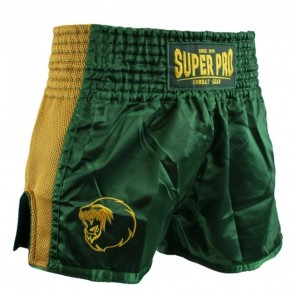 Super Pro Combat Gear Thai- und Kickboxing Shorts Brave green/gold